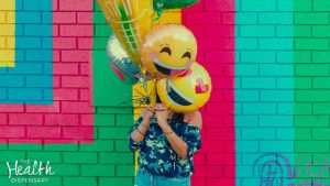 Woman with Happy Balloons